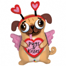 Pugs & Kisses Large Foil Balloon 1pc